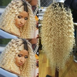 Wholesale Dyed Hair Wigs - #1b 613 Blonde Human Hair Wigs Kinky Curly Brazilian Blonde Full Lace Human Hair Wigs can be dyed