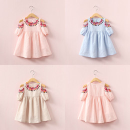 Wholesale Girls Dresses Kids Clothes - New baby girls folk-custom Flower dress summer cotton Children printing Strapless dresses Kids Clothing C2543