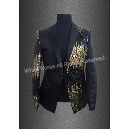 Wholesale Stage Wear Men - Wholesale- Men blazer Men Black Gold Sequins Summer Blazer Slim Men Performance Costume Stage Wear Jaqueta Masculina black and gold blazer
