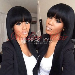 Wholesale Long Synthetic Full Wigs - Silky straight brazilian virgin hair Synthetic None lace with bangs long straight black wig Full Lace Wig with baby hair for Black woman