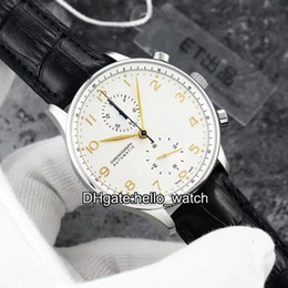 Wholesale Automatic Portuguese - 2017 Luxury Brand New ETA 7750 45 White Brown Dial Portuguese Automatic Chronograph Mens Watch Leather Strap Original Buckle Watches