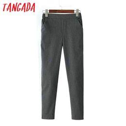 Wholesale Corduroy Trousers Women - Tangada Fashion Women office Elegant Gray Striped Print Capris Pants Elastic Waist Pocket Trousers Casual Female Plus Size FA23