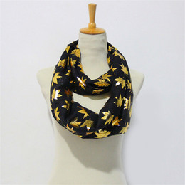 Wholesale Blue Female Rings - Warm Women Flower Loop Scarf Female Small Maple Leaf Print Chevron Ring Scarves Winter Plants Infinity Shawl Wrap