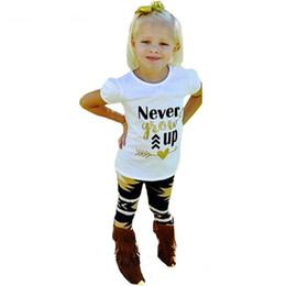Wholesale Grow Cotton - 2017 Girls Childrens Clothing Sets Never Grow Short Sleeve Tshirts Printed Pants 2Pcs Set Summer Girl Kids Enfant Clothes Suits Wholesale