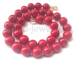 """Wholesale Sea Shell Coral - Free Shipping ** Details about Beautiful 17.5""""12mm perfect round red coral color south sea shell pearl necklace"""