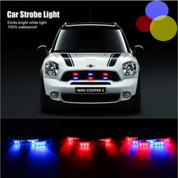 Wholesale red warning light car - 6x3 LED Police Car Warning Strobe Lights Flash Firemen Bule + Red Emergency Light Lamp 3 Modes Red and Blue Lighting car decoration