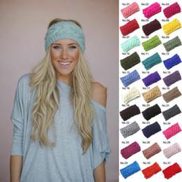 Wholesale Free Crochet Hair Accessories - Fashion Crochet Headband 31 Colors Wool Crochet Headband Knit Hair band Winter Warm headbands Girls Headwrap Hair Accessories Free shipping
