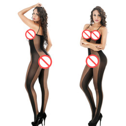 Wholesale Socks Crotch - See Through Black Open Crotch Hooded Socks Full Bodysuit Sexy Bodystocking For Women Stretchy Sexy Lingerie Hot Teddies