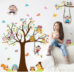 Wholesale Wall Art Kids Playroom - Free shipping owls tree wall stickers kids gift playroom decor nursery cartoon home decals animals mural arts flowers plant poster