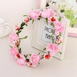 Wholesale Fabric Wreath - 2016 New Arrival Fashion Wreath Flower Girls Rose Chrysanthemum White Red Beige Pink Hair Accessories Floral Headwear Tiara Crown Headpiece