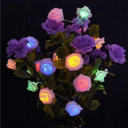 Wholesale Led Flower Battery Lights - 2M 20Led Led Rose Flower Fairy String Light 3X AA Battery Operated Wedding Party Decoration Decor Floral String Pink White Blue Green Purple
