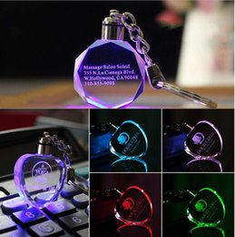 Wholesale Wholesale Engraving Supplies - Customized Fashion Laser Engraving LOGO Crystal Keychains Octagonal Shaped LED Key Chain Key Ring for Wedding Xmas Birthday Gifts