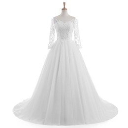 Wholesale Exquisite Wedding Dress Off Shoulder - 2017 New Style Long Sleeve V-Neck Exquisite Wedding Dress Zip Back Sweep Train Bridal Lace Gown