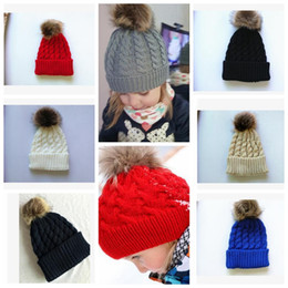 Wholesale Newborn Boys Baby Skull Hats - Winter Mom Women Baby Kids Girl Boy Newborn Crochet Knitted Hats Skull Caps Wool Fur Ball Pompom Beanies Hat KKA3203
