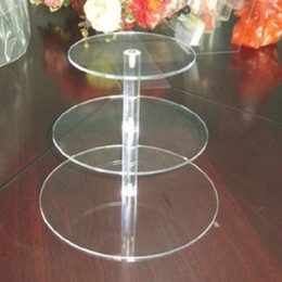 Wholesale Acrylic Cupcake - Practical Transparent Acrylic Cake Racks Removable Three Tiers Dessert Holder Round Cupcak Display Stands For Wedding Decor 32nd B