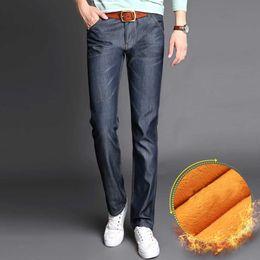Wholesale Winter Skinny Jeans For Men - Wholesale-Men's Fleece Lined Jeans Slim Thermal Denim Pants Warm Hot Business Long Pants Winter Clothing Wear for Men Plus Size 28-50