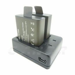 Wholesale Rechargable Cameras - 1pcs sets Battery Dual Charger+2Pcs 1050mAh Backup Rechargable Li-ion Battery For EKEN H9 H9R H3 H3R H8PRO H8R H8 pro Sports Action Camera