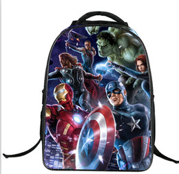 Wholesale Ironman Backpack - Spiderman Backpack School bag Super Hero 3D Cool Captain america Birthday Gifts Christmas for KID New Semester Avenger Hulk Ironman Superman
