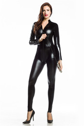Wholesale Dresses Leather Look - FREE SHIP Sexy Catsuit Halter Neck Black Wet Look PVC Fetish Clubwear jumpsuit fancy dress 7046