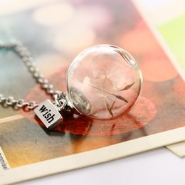 Wholesale Cameo Jewelry Wholesale - Charms Dandelion Glass Cameo Ball Pendant Alloy Chain Necklace Fashion Jewelry