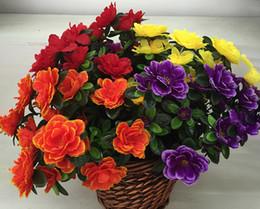 Wholesale Artificial Azaleas - Azalea Flower 40cm Length Artificial Flowers Azaleas 6Stems per Bunch for Wedding Centerpiece