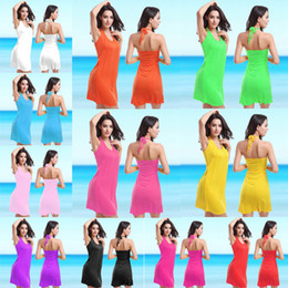 Wholesale Gold Bikini Sale - Sexy halter swimwear for women fat seaside beach cover up dresses plus size bathing suits bikini coverup pink 11 color wear sale swimsuits