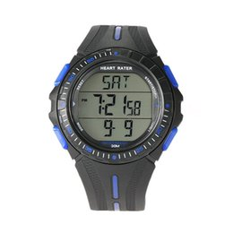 Wholesale Heart Pulse Watch Chest Strap - Wholesale- Multifunction Sports Dual-time Pulse Heart Rate Monitor Watch w Chest Strap Color:Black+Blue