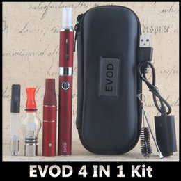 Wholesale Evod Starter Kit Dhl - New EVod 4 in 1 Vape Pen with Wax Glass Globe Single Cotton Coil MT3 Eliquid Ago Dry Herb Vaporizer Starter Kit by DHL free