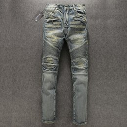 Wholesale Mens Slim Jeans Size 38 - 1PCS Paris Designer Mens Blue Washed Destroyed Biker Jeans Destroyed Denim Pockets Famous brand new size 28-38
