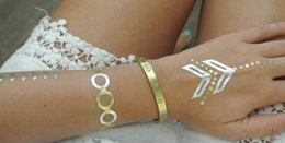 Wholesale Hand Arm Jewelry - Bling bling gold temporary tattoo sticker apply to human skin for body decoration,metallic body jewelry design long-lasting tattoo sticker