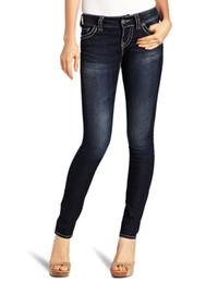 Wholesale Elastic Jeans For Women - Wholesale- Silver jeans for women ladies famous designer brand elastic jeans skinny slim fit fashion soft pants karandash, Lager Plus size
