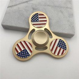 Wholesale United Toys - Metal National Flag Spinners Zinc Alloy Hand Spinner United States Canada Italy India Metal Spinners EDC Decompression Fidget Toy
