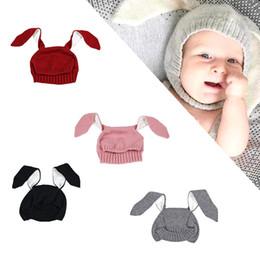 Wholesale Rabbit Ear Hat Pink - Unisex Newborn Kids Baby Girls Boys Winter Warm beanie Knitted Hats Cute Rabbit Long Ear Hat Soft Crochet Baby Bunny Hats Baby Bonnet