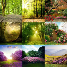 Wholesale Background Forest - wholesale custom 5x7FT forest scenic blossoms flowers for baby photos camera photography background backdrop studio digital vinyl backdrops