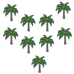 Wholesale Tree Patches - 10 pcs coconut trees patches badges for clothing iron embroidered patch applique iron on patches sewing accessories for clothes