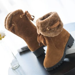 Wholesale Women Wearing Fur Heels - New Arrival Winter Antiskid Snow Boots Martin Boots Womens Two Way Wear Short Snow Boots Winter Warm Boots Thickening With Velvet Fashion
