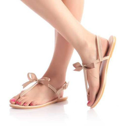 Wholesale Wholesale Flip Flops Buckle - Wholesale-Easy and Comfortable Flat Sandals Sweet Bow T-belt Summer Shoes Women's Fashion Flip Flops 2015