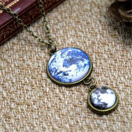 Wholesale Moon Earth - 12pcs lot Earth and Moon necklace Space jewelry Full moon Planet necklace Glass dome Galaxy necklace