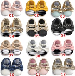 Wholesale Stripe Bow Shoes - No Lead Included 12 pairs Newest Baby girl Moccasins Soft Bottom Butterfly-knot Bow stripe Moccs Baby girls Diamond Shoes Tassels Baby Shoes
