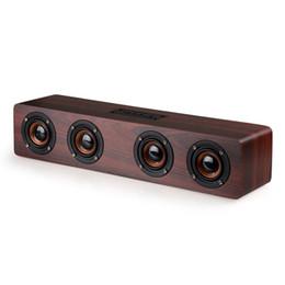 Barra de som ao ar livre on-line-12 W De Madeira Bluetooth Soundbar Alto-Falante Estéreo Sem Fio Hifi Super Bass Subwoofers Boombox W8 Alto-falantes Portáteis TF MP3 Player Altifalante