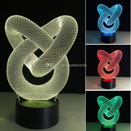 Wholesale Led Lights Shoelace - 7 Color Change 3D Acrylic illusion Touch Switch Lamp LED Night Light Novelty E00652 CARD