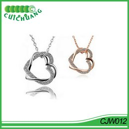 Wholesale China Charms Suppliers - CJW012 Cuichuang Free shipping America and Europe heart with heart gold heart necklace best quality china supplier