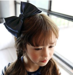 Wholesale Navy Hair - Children hair clip Boutique girls double Bows barrettes kids big Bows princess hair accessories christmas best gift for girl navy pink R0776