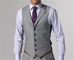 Wholesale Grooms White Vest - Light Grey Groom Vests for Wedding Guest Custom Made Groomsmen Single Breasted Notched Lapel Wedding Waistcoat New Arrival