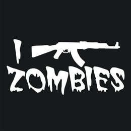 Wholesale I Tip Red - I Shoot Zombies Funny Vinyl Decal Car Stickers Waterproof Car Styling Window