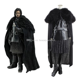 Wholesale Custom Cosplay Outfits - Free Shipping Adult Size Men Black Long Sleeve Jon Snow Outfit Superhero Costume Game of Thrones Cosplay Costumes For Halloween