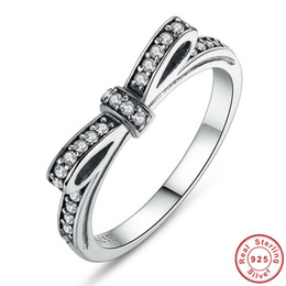 Wholesale Sterling Silver Ring Quartz - Fashion 925 Sterling Silver Sparkling Bow Knot Stackable Ring Micro Pave for Women Wedding Jewelry