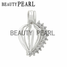 Wholesale Wish Pearl Heart - Bulk of 3 Pieces Zircon Sparkling Heart Cage Wish Pearl Love Pendant 925 Sterling Silver Heart Cage