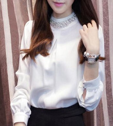 Wholesale Ladies Diamond Shirt - New Arrival Fashion Korean Chiffon Diamond Collar Elegant Loose Bottoming Shirt Velvet Noble Lady Tide Long-Sleeved Shirts