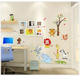 Wholesale 3d Tree For Kids Wall - AY9221 Cartoon Animal Tree Wall Stickers For Kids Rooms Home Decor Art Decals 3D Wallpaper Decoration Free Shipping